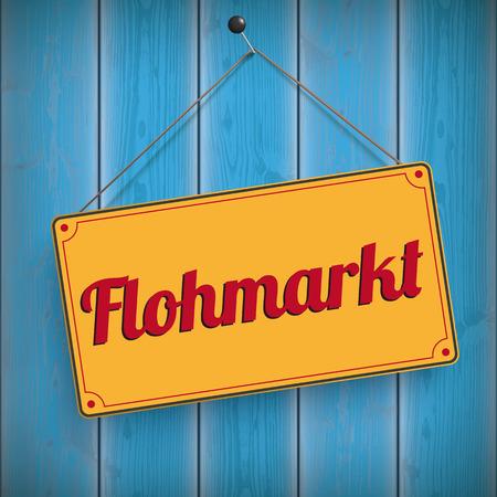 """Texto alemán """"Flohmarkt"""", traducir """"Venta de garaje"""". Archivo vectorial EPS 10."""