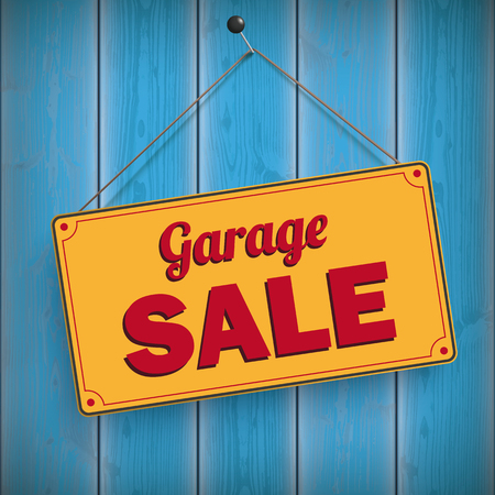 Sign with the text Garage Sale on the wooden board. Eps 10 vector file. Vectores