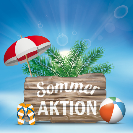 German text Sommeraktion, translate Summer Sale. Eps 10 vector file.
