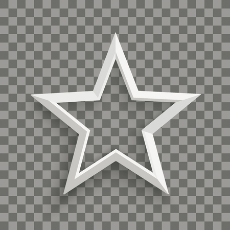 White star with shadows on the checked background. Eps 10 vector file. Çizim