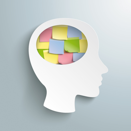 Human head with colorful sticks in the brain on the gray background. Eps 10 vector file.