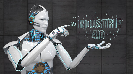 German text Industrie 4.0, translate Industry 4.0. 3d illustration. Banco de Imagens