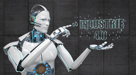 German text Industrie 4.0, translate Industry 4.0. 3d illustration. Banque d'images