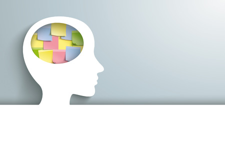 Human head with colorful sticks in the brain. Eps 10 vector file. Standard-Bild
