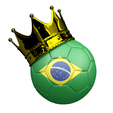 Football with flag of the Brazil with golden crown on the white background. 3d illustration. Banco de Imagens