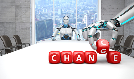 A white robot is sitting at a conference table, in front of it are dice with the text Change Chance. 3d illustration.