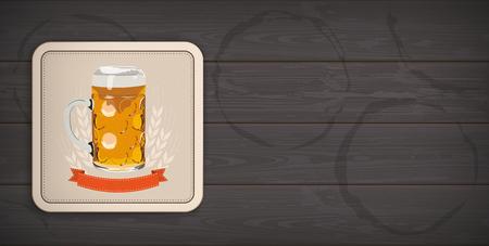 Banner with beer coaster on the dark wooden background.   vector file. Stock Illustratie