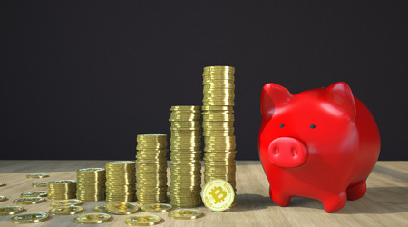Golden Bitcoins with red piggy bank on the wooden table. 3d illustration.