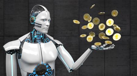 A white robot with golden ethereum coins. 3d illustration. Standard-Bild