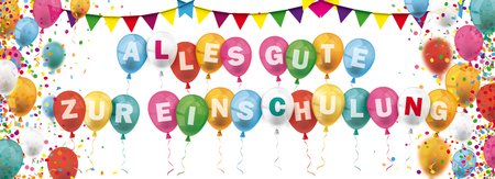 German text Alles Gute Zur Einschulung, translate Happy Enrollment. vector file.