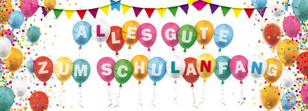 German text Alles Gute Zum Schulanfang, translate Happy School Starts. Eps 10 vector file. Illustration
