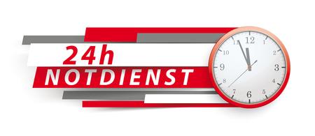 German text 24h Notdienst, translate 24h emergency service. Eps 10 vector file. Illustration