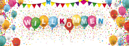 German text Willkommen, translate Welcome. Eps 10 vector file. Stock fotó - 104959492
