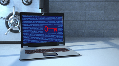 Safe with notebook and red key on the display. 3d illustration.