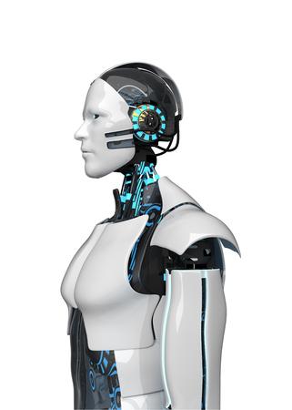 White robot isolated on white. 3d illustration.