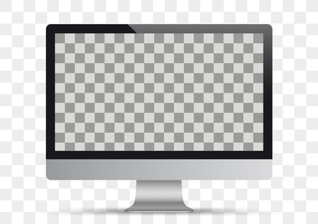 Personal computer monitor mockup on the checked background. Eps 10 vector file. Çizim