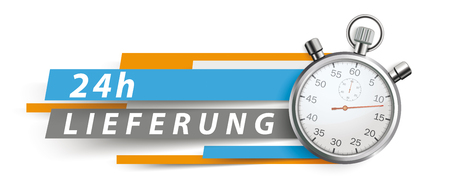 German text 24h Lieferung, translate 24h Delivery. Eps 10 vector file.