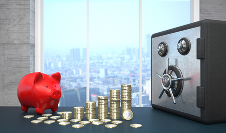 A growth chart of euro coins with safe and red piggy bank on the table in the business room. 3d illustration. Stock Photo