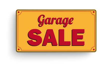 Orange sign with the text Garage Sale.  Eps 10 vector file.