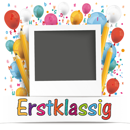 German text Erstklassig, translate First Grade. Eps 10 vector file. Ilustracja