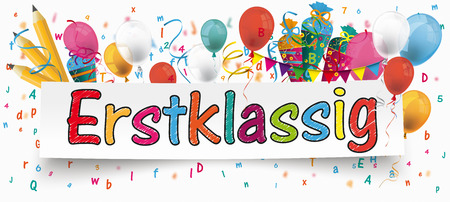 "German text ""Erstklassig"", translate ""First Grade"". Eps 10 vector file."