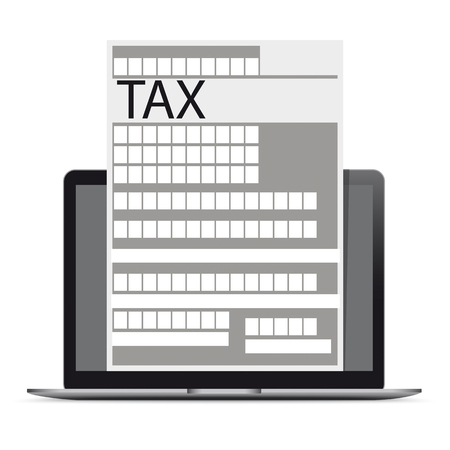 Notebook with tax form on the white. Eps 10 vector file.