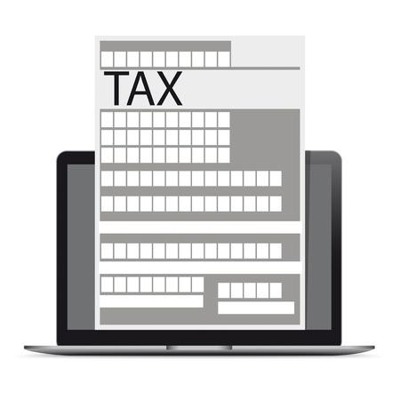 Taccuino con modulo fiscale sul bianco. File vettoriale EPS 10. Vettoriali