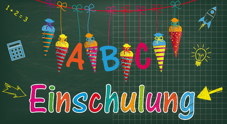German text Einschulung, translate Enrollment. Eps 10 vector file.
