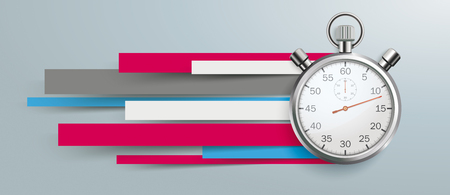 Stopwatch with colorful paper lines on the gray background. Eps 10 vector file.