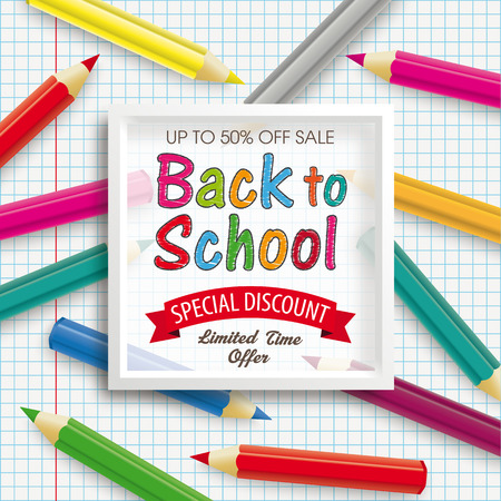 Colored pencils with white frame and the text Back To School on the checked background. Eps 10 vector file. 일러스트