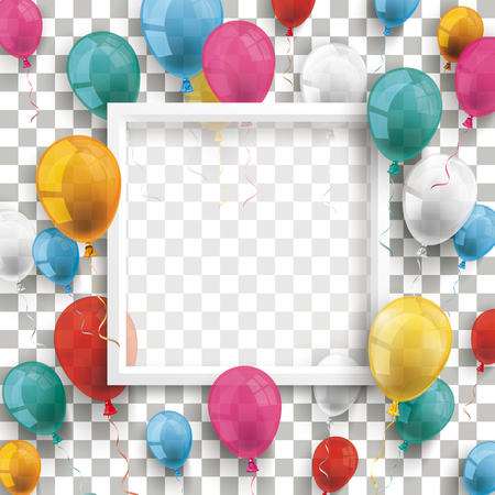 Colored balloons with white frame on the checked background. Eps 10 vector file. 矢量图像