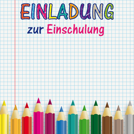 "German text ""Einladung zur Einschlung"", translate ""Invitation to School Enrollment"". Eps 10 vector file."