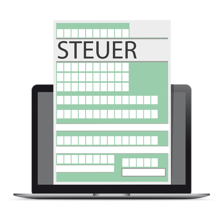 German text Steuer, translate Tax. Eps 10 vector file. Vettoriali
