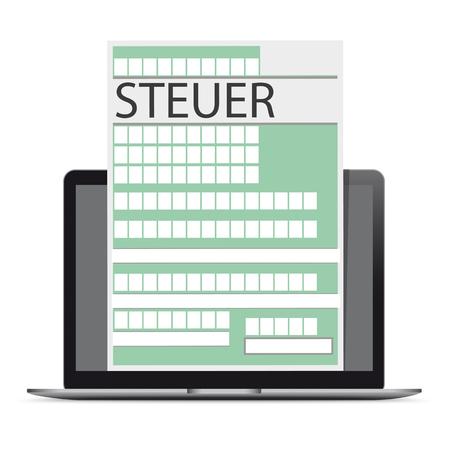 Testo tedesco Steuer, tradurre Tax. File vettoriale eps 10.