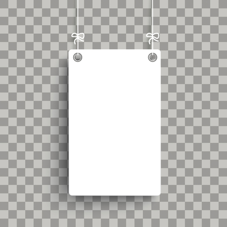 White board on the checked background. Eps 10 vector file.