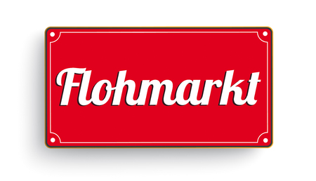 German text Flohmarkt, translate Garage Sale.  Eps 10 vector file.