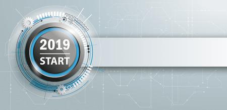 Knop met banner en tekst 2019 Start. Eps 10 vector-bestand.