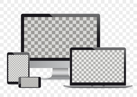 Set of realistic monitor, notebook, tablets and smartphones on the checked background. Eps 10 vector file.