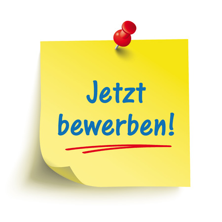 German text jetzt bewerben, translate apply now. Eps 10 vector file.