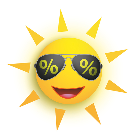 Funny sun with sunglasses with percents the white background. Eps 10 vector file.