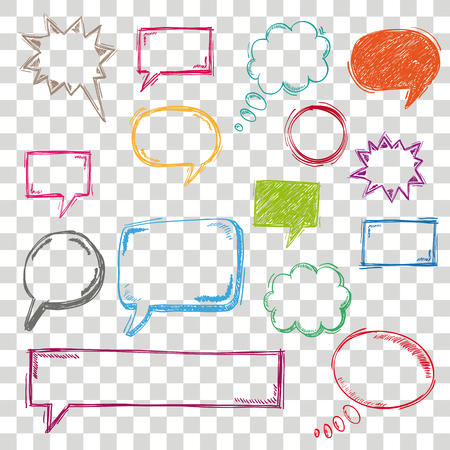 Handdrawn colored speech bubbles set on the checked background. Eps 10 vector file.