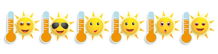 A banner with weather icons with thermometeres and funny sun smileys. Eps 10 vector file. Ilustracja