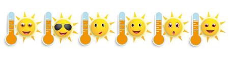 Baner z ikonami pogody z termometrami i zabawnymi emotikonami słońca. Plik wektorowy EPS 10. Ilustracje wektorowe