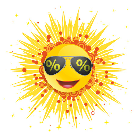 Abstract sun with sunglasses with percents the white background. Eps 10 vector file. Stockfoto