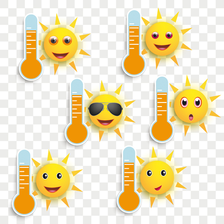 Funny sun faces with thermometers on the checked background. Eps 10 vector file.
