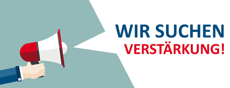 """German text """"Wir suchen Verstaerkung"""", translate """"We are looking for new staff"""". Eps 10 vector file."""