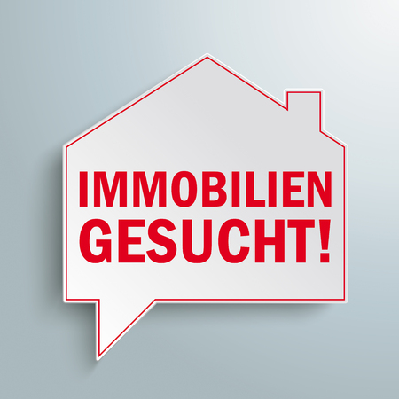 German text Immobilien Gesucht, translate Properties Wanted. Eps 10 vector file. Stock Illustratie