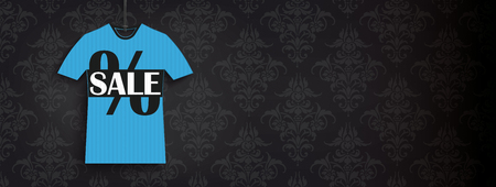 Header with price sticker of t-shirt shape on the black background with ornaments. Eps 10 vector file.