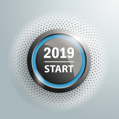 Button with text 2019 Start on the gray background. Eps 10 vector file. Illustration