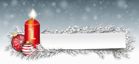 Vela roja con adornos y ramitas de abeto congelado en la nieve. Archivo de vector EPS 10. Ilustración de vector